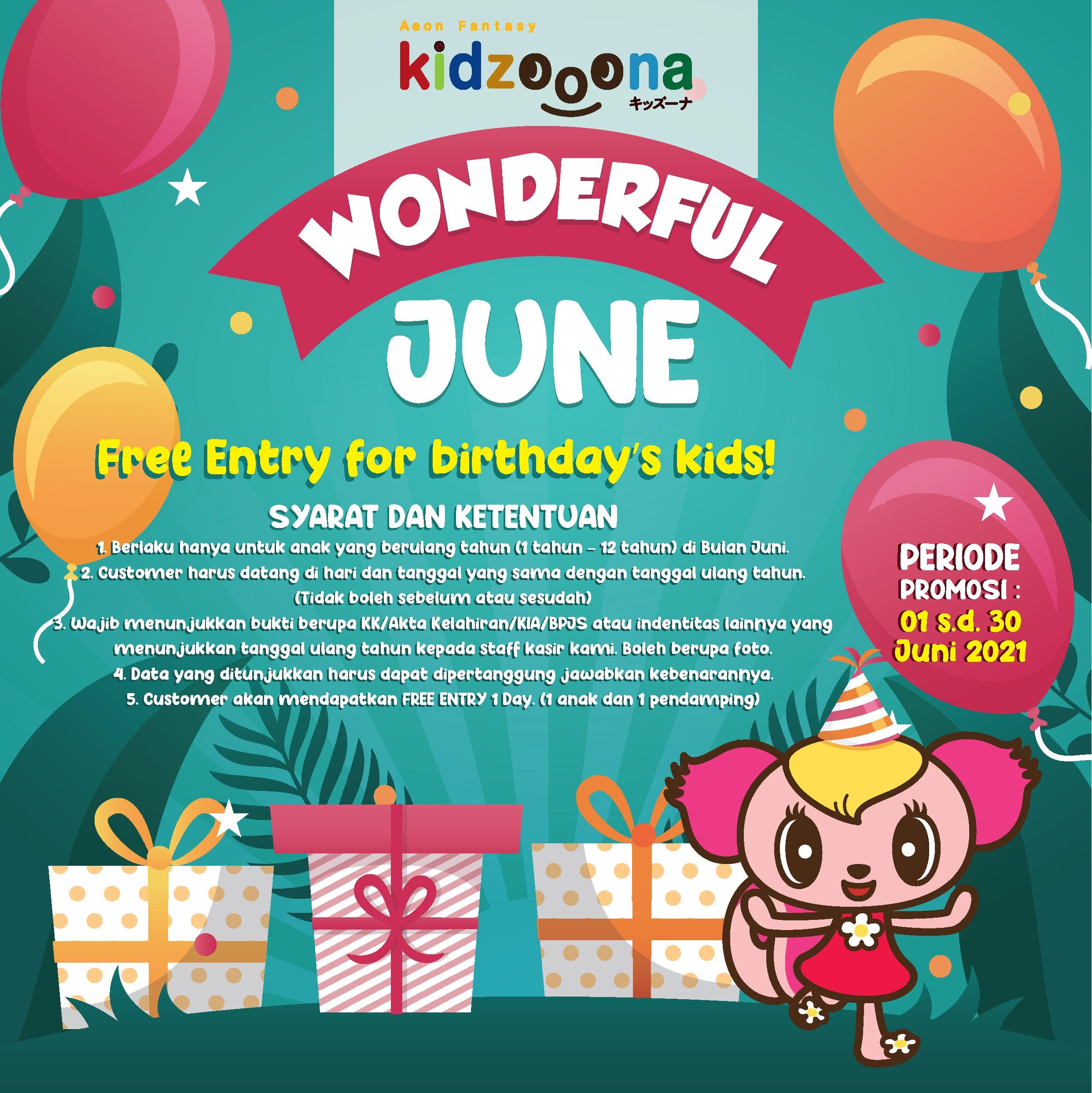 Gratis Bermain Pada Hari Ulang Tahun di kidzooona!